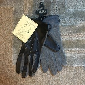 RALPH LAUREN - Tech Leather Wool Winter Gloves - M